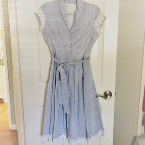 Striped Dress With Lace Trim Vintage Style